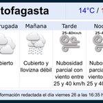 Llovizna débil para #Antofagasta este sábado 27. Fuente: @meteochile_dmc https://t.co/uf8Dkd79GE