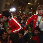 Our champions have arrived in Armenia! Artur Aleksanyan and Mihran Harutyunyan! We love you! 🇦🇲🇦🇲 https://t.co/tLe2m8CcWv