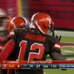 Josh Gordon has knocked the rust off. RG3 finds him for 43 yards and a TD. https://t.co/4l9wNWwZY7