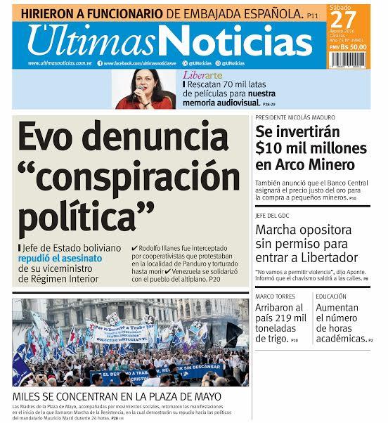 Titulares diario ltimas noticias evo denuncia for Ultimas noticias dela farandula