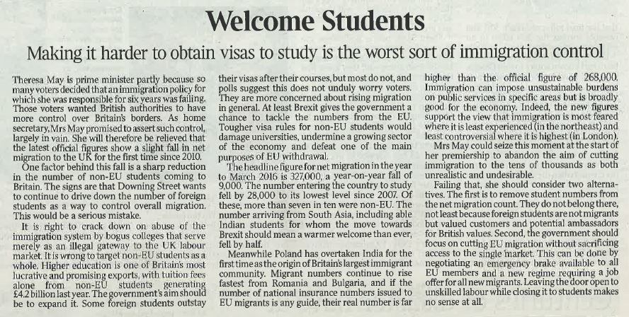 Strong editorial in Friday's Times: 'Making it harder to obtain study visas is worst sort of immigration control' https://t.co/m4ZVcUOnkv