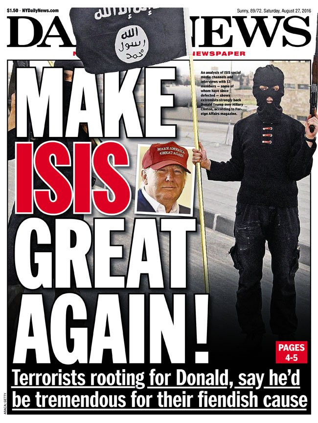 Today's front page... MAKE ISIS GREAT AGAIN: Terrorists hope Trump wins https://t.co/uoxDzVK9NB
