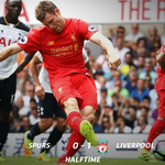 #PL - HALFTIME: A late penalty from James Milner puts Liverpool deservedly ahead at White Hart Lane. #TOTLIV https://t.co/ajQ278jHlZ