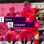 Milners strike from the spot just before the interval separates the sides at the break #TOTLIV https://t.co/yPrje83wut