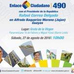 Todos invitados a participar del #Enlace490, con el Presidente @MashiRafael desde #Guayas https://t.co/0P5vpTnJBB