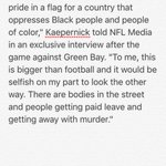 Colin Kaepernick on why he didnt stand for National Anthem. Strong echoes of Toni Smith-Thompson, Abdul-Rauf. https://t.co/aLVInxUVfB