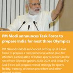 PM Modi announces Task Force to prepare India for next three Olympics https://t.co/1p4FX2CTxN via NMApp https://t.co/P7NZbmfjqT
