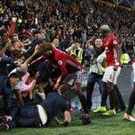 Manchester United fans celebrating Marcus Rashford's very late winner. https://t.co/oCtHTiztg3