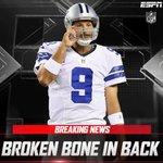 BREAKING: Cowboys coach Jason Garrett said that Tony Romo has broken a bone in his back. https://t.co/98R9FiTl05