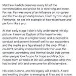 Nat Fyfes tribute to Pav ahead of his final game ⚓️💜 #ThanksPav #AFLFreoDogs @tweetperth @freodockers https://t.co/Px8Gzfn7gr