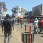 The Zanu pf  supporters are now marching along Jason Moyo Ave. No police presence whatsoever #Zimbabwe https://t.co/2N553kjS1L