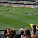 Health and safety much @mcg ???? Marshy just got hit in the head with a giant ugly hawks flag #AFLHawksPies https://t.co/dNyFgPcIvV