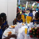 Runners have breakfast after @RotaryCancerRun #RotaryCR16 in the Parliament tent @CentenaryBank @snamso @msikhu https://t.co/HVkJq5ARlh