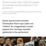 No @cpyne, your party and your Prime Minister are the real villains! #auspol #marriageequality #loveislove https://t.co/0IdsfEyrpn