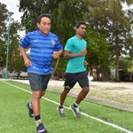 President completes #TrainingWithMvChamps with the fastest runner in Maldives @SaaidKalhey https://t.co/lKfAB2Vs3x