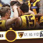 What a game! It was close all day but weve locked a top four spot! #AFLHawksPies #HawthornAlways https://t.co/U1IOTARk4o