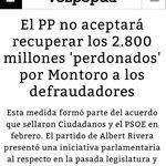 PP y Ciudadanos firmaran hoy el pacto de investidura. Eso sí. Los 2.800 millones dadlos por perdidos. #FelizDomingo https://t.co/CzdTcVEz3z