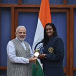 Delighted to meet you @Pvsindhu1. Every Indian is so proud of what you accomplished. #Rio2016 https://t.co/DfeAiCt6m6
