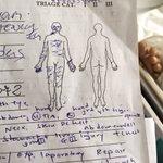 Maschio, 14 anni, ferito da mina, #Kabul. I segni sulla sagoma indicano i punti delle lesioni. #laguerraè https://t.co/7bdqBLjRzn