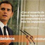 """.@Albert_Rivera """"Hemos alcanzado un acuerdo de investidura con 150 medidas para reformar España"""" https://t.co/xphm9UnOz2"""
