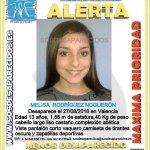 RT por favor #DESAPARECIDA Melisa de 13 años en #Valencia el 27/8/16 ¡Familia pide ayuda URGENTE! ☎️ 112/062 https://t.co/SkiJBUewxj