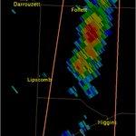 """Strong Tstms moving slowly NE near Follett, Higgins. Expect 50 MPH gusts, 1/2"""" hail, heavy rain, lightning. #phwx https://t.co/SEF1TiqJ58"""
