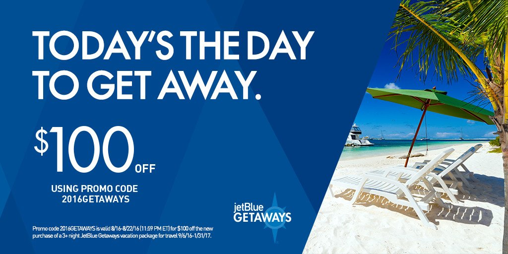 Get $100 off a 3+ night Getaways vacay with promo code 2016GETAWAYS. +Restr