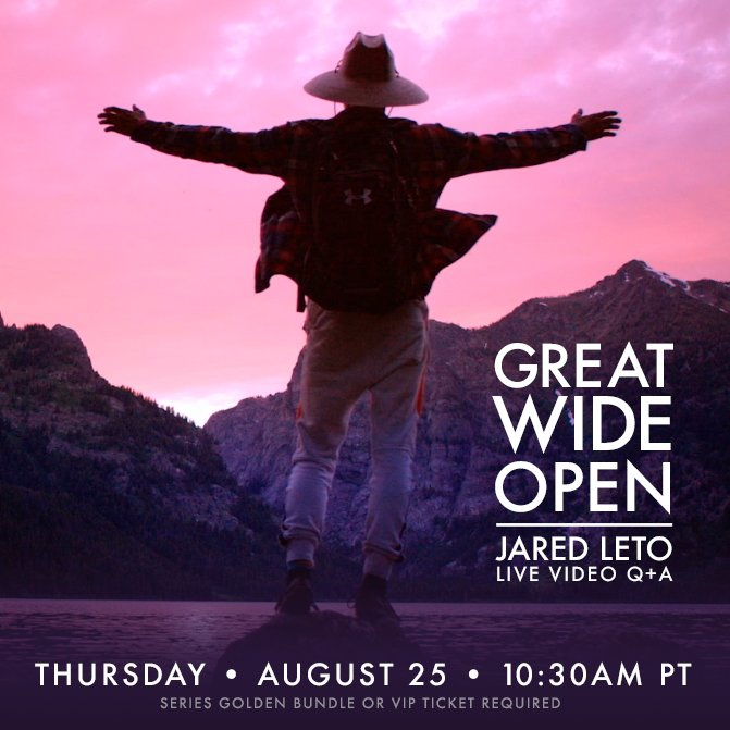 RT @VyRT: #GreatWideOpen Live Chat with @JaredLeto Reschedule: Please join us AUGUST 25 • 10:30AM PT! https://t.co/4VrH9PSNHj https://t.co/…