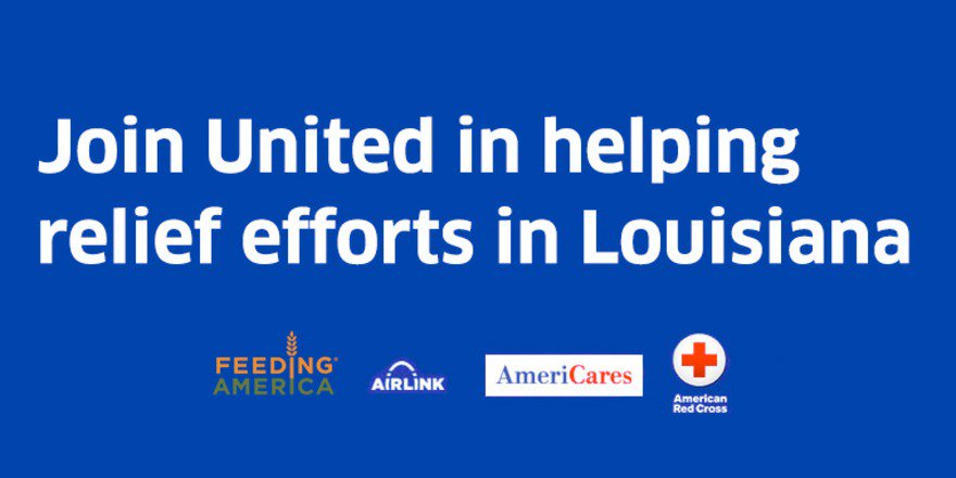 Help send relief for the LouisianaFlood & we'll award you MileagePlus miles for donating:
