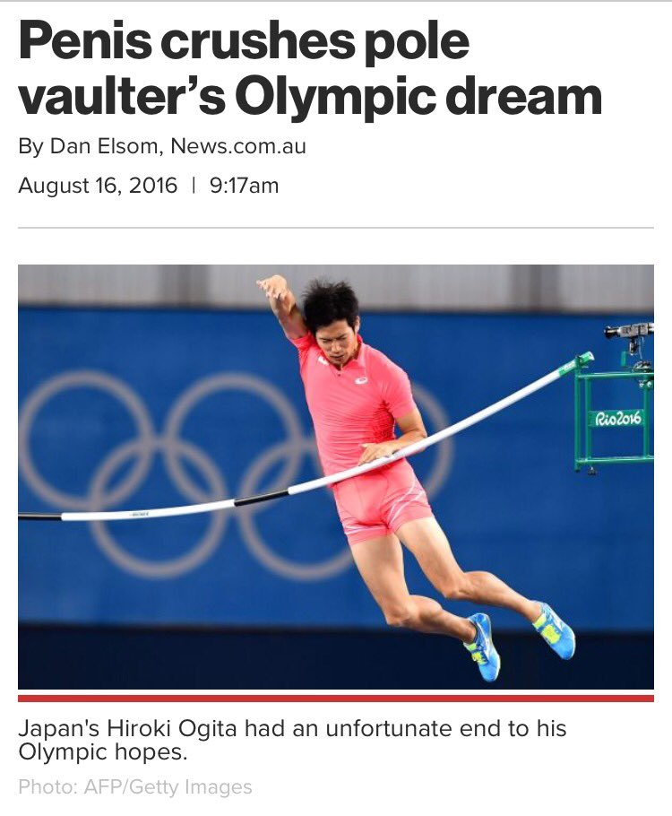 I feel so bad for this poor guy. His Olympic dreams were dashed when his dong knocked off the bar. ???????? https://t.co/ZYdHqp0ynE