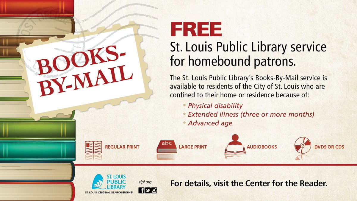 Do you know someone who loves to read but can't make it to the Library? Ask about our Books-By-Mail program. https://t.co/zpGlQVAJYc