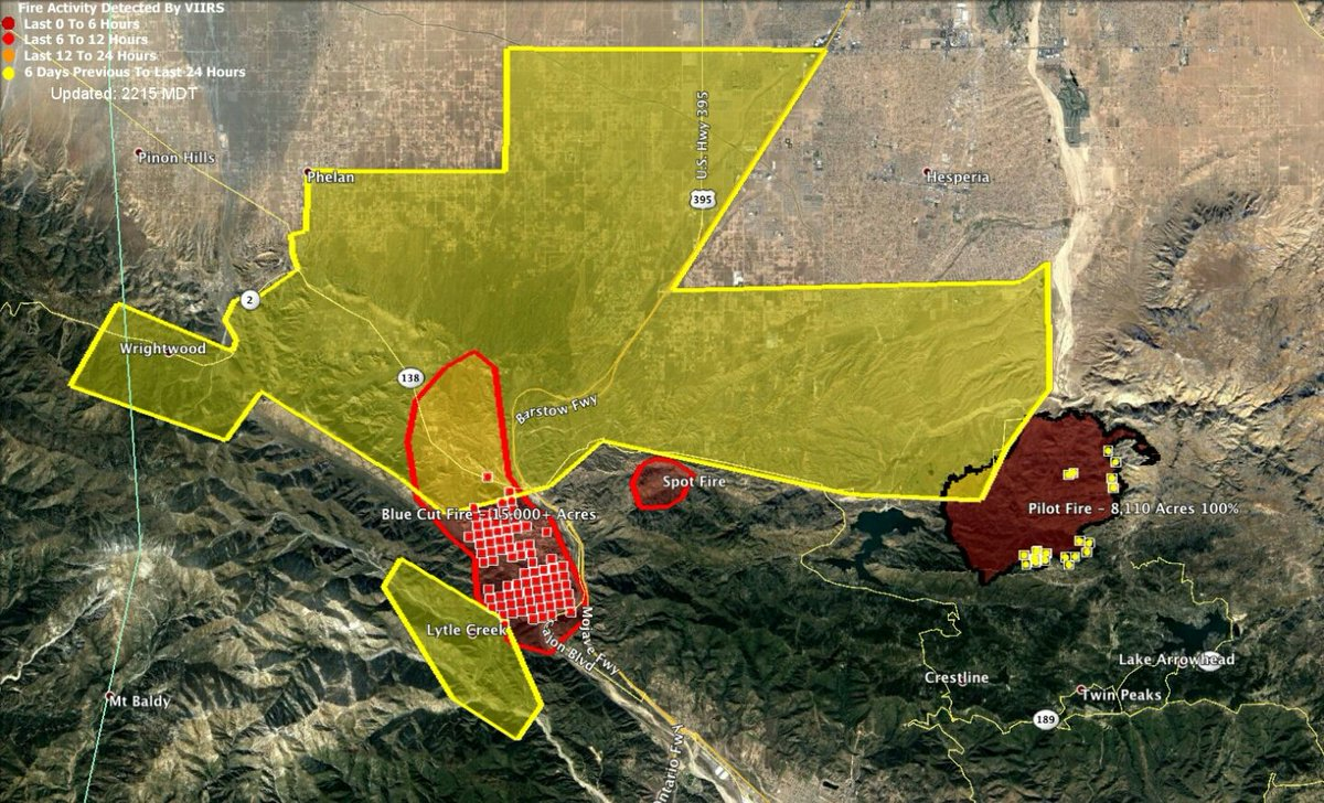 Map The most recent evacuation area for the Blue Cut Fire in San Bernardino