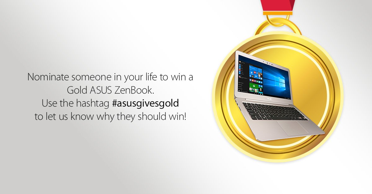 We've still got 2 more Gold ZenBooks to give out. Nominate someone with #asusgivesgold for them to win a ZenBook! https://t.co/BECIoWO4mJ