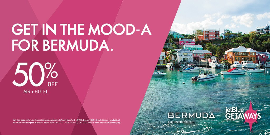 Take a vacation & a half! Get 50% off Bermuda w/JetBlueGetaways – just book by 8/21. +Restr