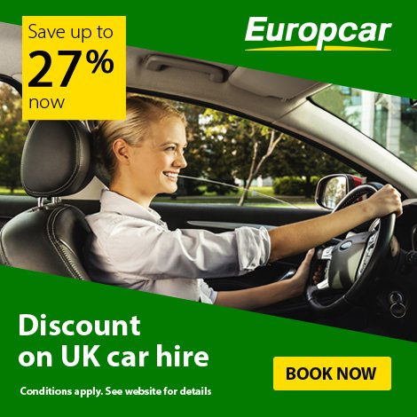 We've teamed up with Europcar! Giving our passengers up to 27% discount!