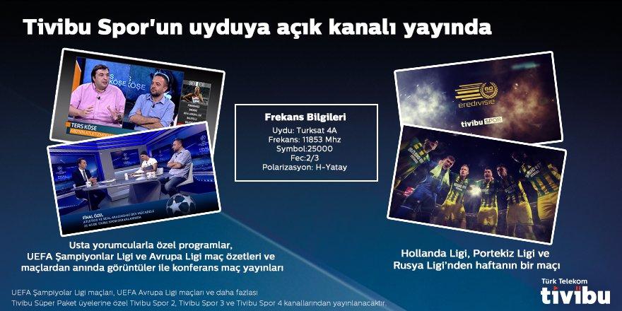 Tivibu Spor'un Türksat uydusuna açık kanalı yayında! https://t.co/xM2hlRjDh5