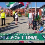 Celtic fans show their solidarity with Palestine as the away side arrive at Celtic park ahead of tonights game https://t.co/IRmcXrcI2n