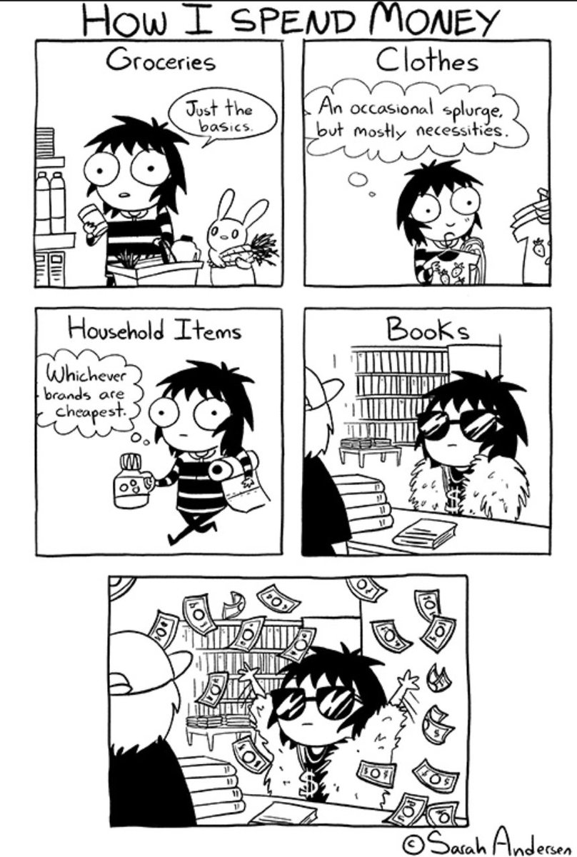 One of our faves Sarah Anderson reminding us how we're all #irrationalbookbuyers. Credit: #sarahsscribbles @gocomics https://t.co/iavEmtuL71