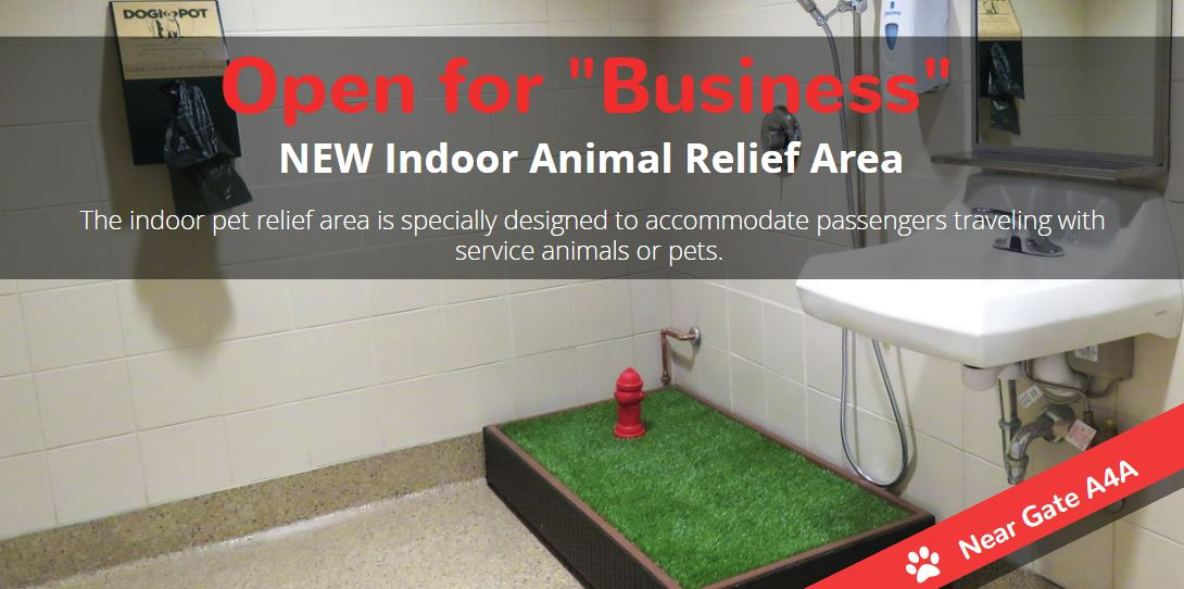 "Our new Indoor Animal Relief area is open for ""business!"" Concourse A/Gate A5:"