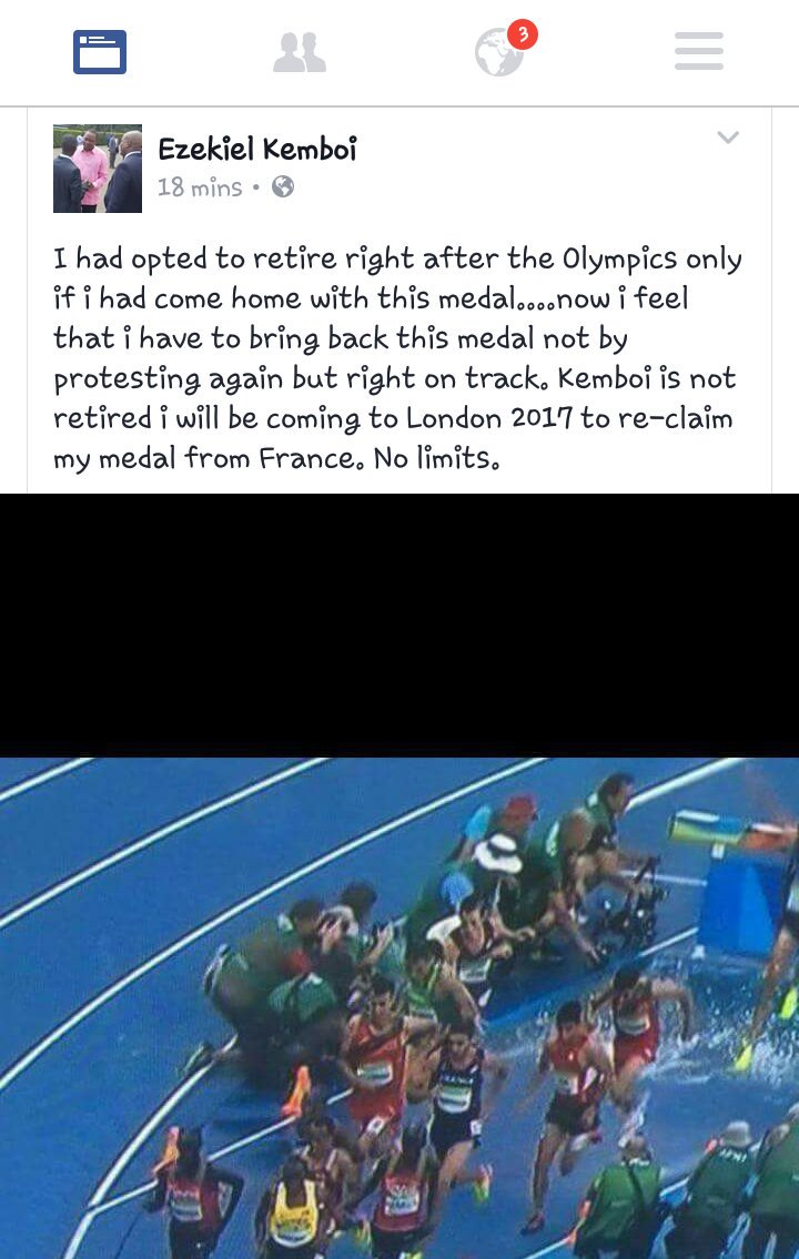 Here is Ezekiel Kemboi's out of retirement statement. #TeamKenya #TeamKe #Rio2016 #Athletics #Steeplechase #Olympics https://t.co/23D3JYMBjM