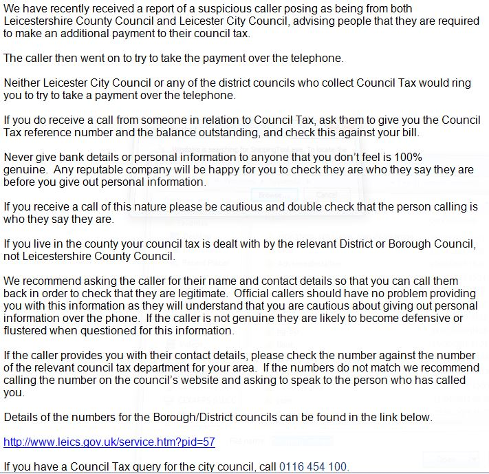 Don't fall victim to Council Tax phone fraud - we've just received this warning from the police. https://t.co/YOpoOeOZ0w