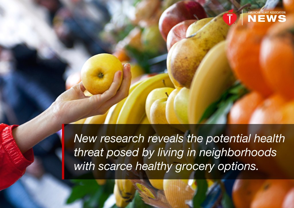 A lack of fresh food choices is linked to signs of early heart disease, new research shows.