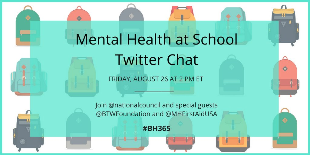 Save the date! We're partnering w/ @MHFirstAidUSA & @BTWFoundation for this important #Twitterchat next week #BH365 https://t.co/ansD8QFaRj