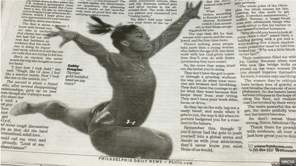 """Philly Newspaper Mistakes Biles for Douglas""  How does this happen? #ThursdayThoughts #Rio https://t.co/ucciI93qS8 https://t.co/FlSkpX8iU0"