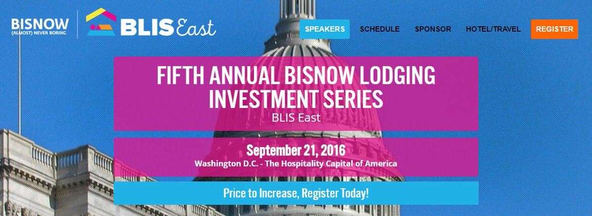 Agenda and new speakers announced! Fifth Annual Bisnow Lodging Investment Series #BLIS16! https://t.co/8cTt1xM8Mb https://t.co/p9OkYNg7YB