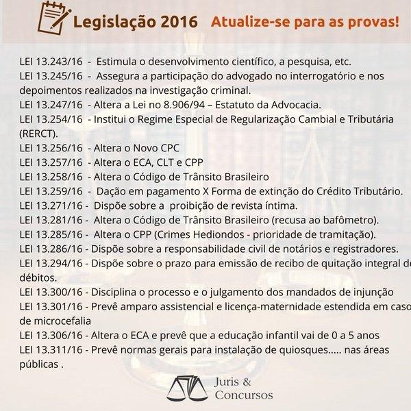 Revise as Novidades Legislativas de 2016! Elas estarão em suas próximas provas! https://t.co/l49Sdwm2Bw https://t.co/9OEwdDXKRo