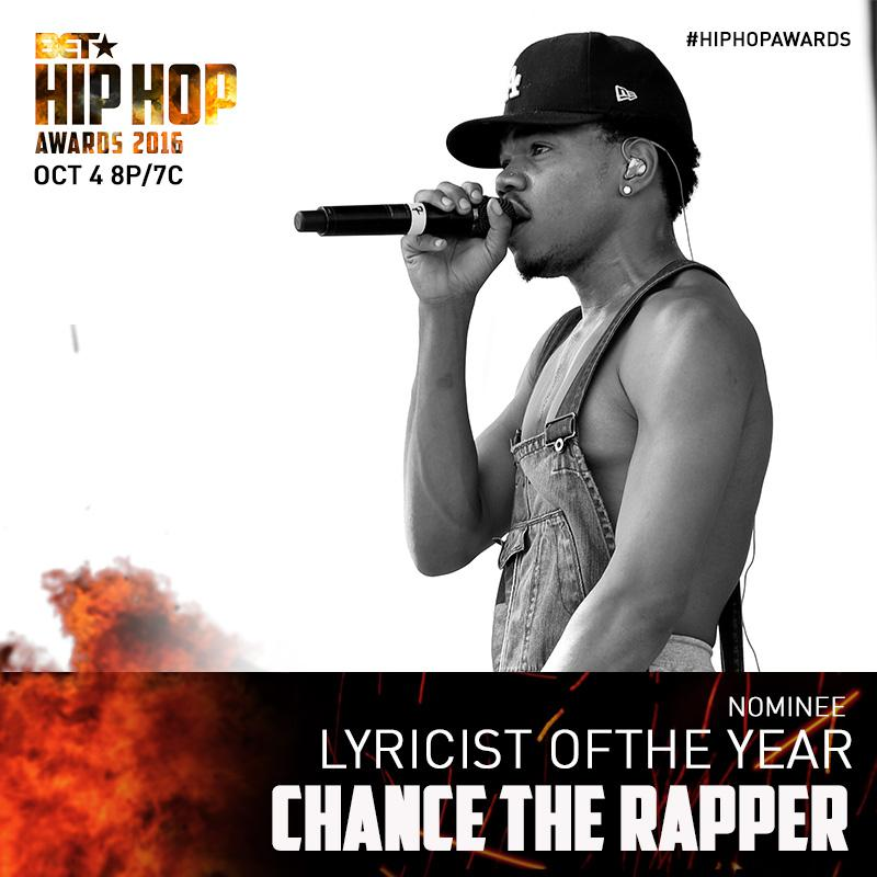 Shoutout to @chancetherapper on his nomination for LYRICIST OF THE YEAR! #HipHopAwards https://t.co/yG7kKk0D1I