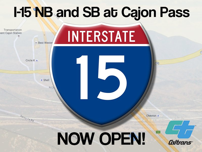 I-15 northbound and southbound through #CajonPass are now open #BlueCutFire #Caltrans8 https://t.co/VacCb0IjAL