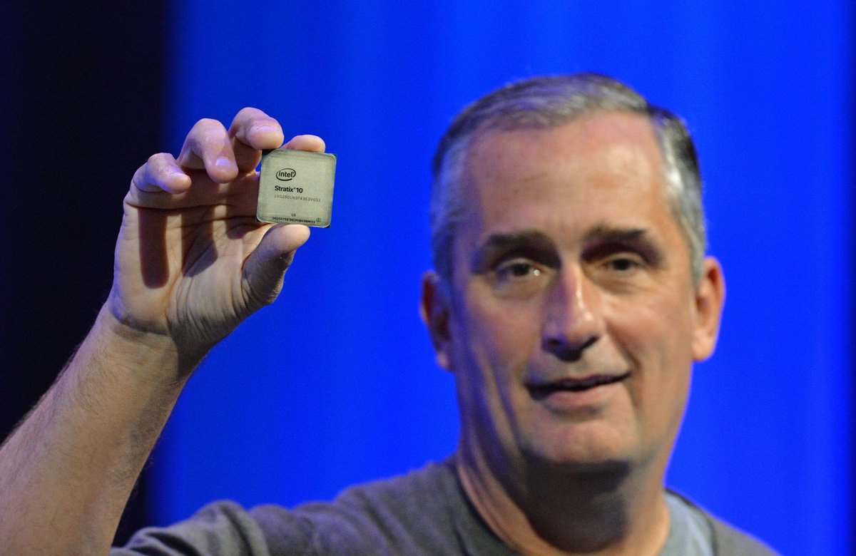 Intel FPGAs.  Intel CEO with Stratix 10 FPGA.  #IDF16 #FPGA https://t.co/FxSmvwHrUo
