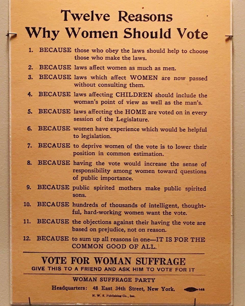 Just 12 of the many good reasons why women should vote. Broadside, c. 1910. #19thamendment #votesforwomen https://t.co/fKHv4XgV3s